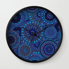 Dot Art Circles Blues Wall Clock