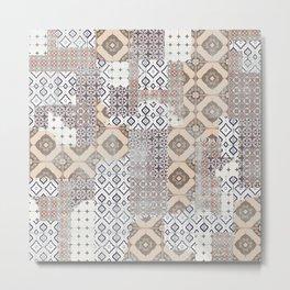 Retro Ceramic Tile Metal Print