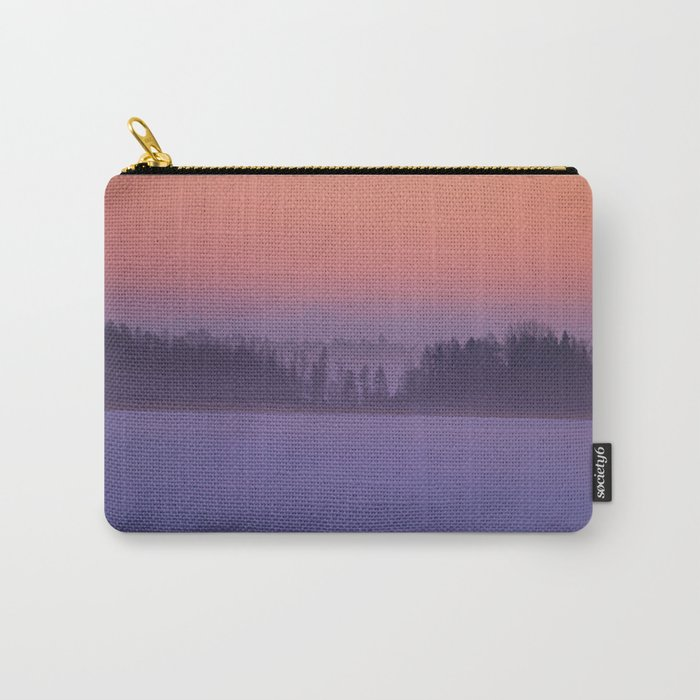 Foggy Winter Evening With Beautiful Sunset Colors In The Sky #decor #buyart #society6 Carry-All Pouch