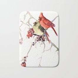 Cardinal Birds, birds art, two bird artwork cardinal bird Badematte