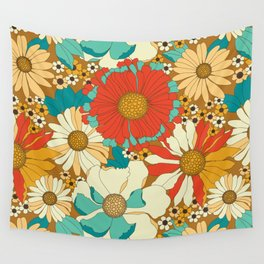 Red, Orange, Turquoise & Brown Retro Floral Pattern Wall Tapestry