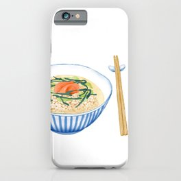 Watercolor Illustration of Japanese Cuisine - Salmon chazuke | 三文鱼茶泡饭 iPhone Case