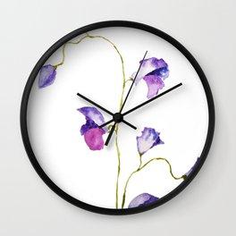 two elegant sweet peas flower Wall Clock