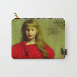 Portrait of a girl in a red dress - Józef Pankiewicz Carry-All Pouch