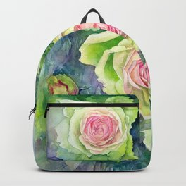 Watercolor green pink roses flowers floral art print nature Backpack