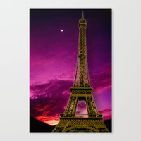 eiffel tower Canvas Prints featuring Eiffel Tower  by Elena Indolfi