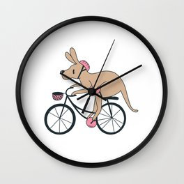 Kangaroo Riding Bike Wall Clock