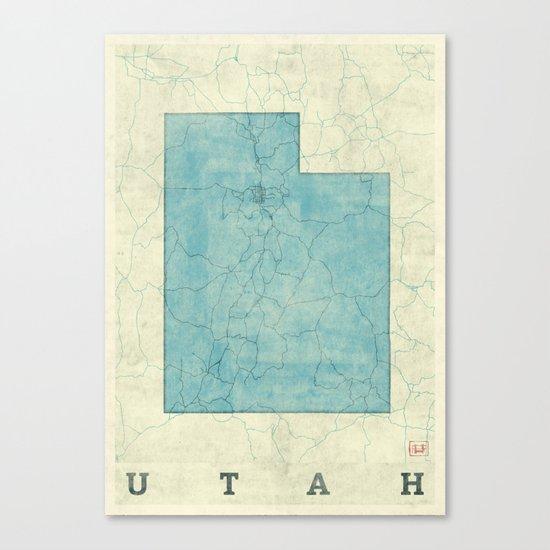 Utah State Map Blue Vintage Canvas Print