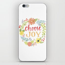 Choose Joy | Floral Feather Berries Rosehips Leaves Border iPhone Skin