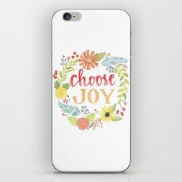 Choose Joy | Floral Feather Berries Rosehips Leaves Border iPhone Skin