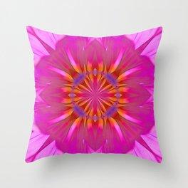 Kaleidoscope Neon Pink Daisy Throw Pillow