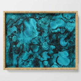 Blue Gemstone and Ink Malachite Glitter Marble Serving Tray
