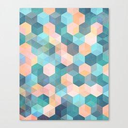 Child's Play 2 - hexagon pattern in soft blue, pink, peach & aqua Canvas Print