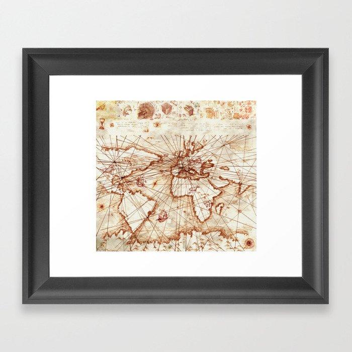 Vintage route map of the world - Leonardo Da Vinci Gerahmter Kunstdruck