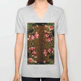 Leopard and Roses Unisex V-Neck