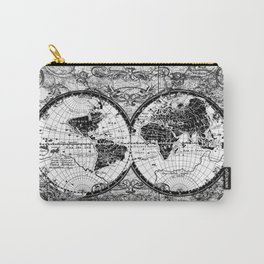 world map black and white Carry-All Pouch