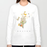 boston Long Sleeve T-shirts featuring Boston map by Nicksman