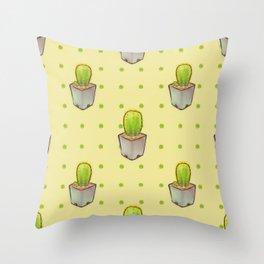 Small green cactus Throw Pillow