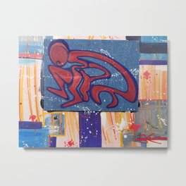Red Spaceman on Walkabout Metal Print