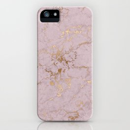 Chic mauve pink gold elegant stylish marble iPhone Case