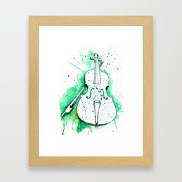 Water Color Violin (Teal) Framed Art Print