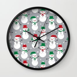 Snowman festive family fun snow day memories winter themed art pattern illustration Wall Clock