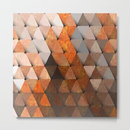 Fluorescent Triangles Orange Brown Gray Metal Print