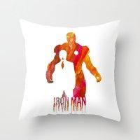 iron man Throw Pillows featuring Iron Man by Jon Hernandez