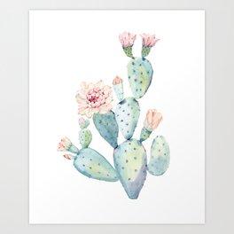 Pastel watercolor prickly pear cactus Art Print