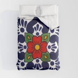 talavera mexican tile in blu Comforters