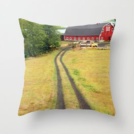 Red Barn Dirt Road Throw Pillow