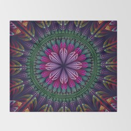 Summer mandala with fantasy flower and petals Throw Blanket