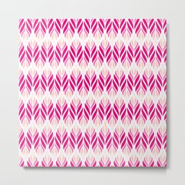 Hot Pink and White Leaves Pattern Metal Print