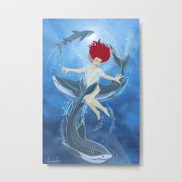 Swimming With Sharks Metal Print