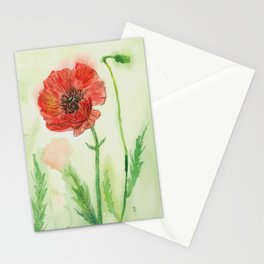 Soft Red Poppies Stationery Cards