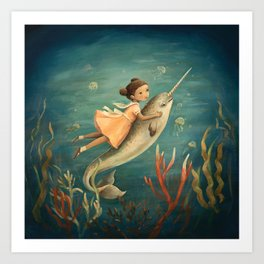 Narwhal Girl by Emily Winfield Martin Art Print