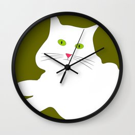 White cat on the green grass Wall Clock