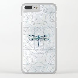 Gemstone Dragonfly on sacred geometry pattern Clear iPhone Case