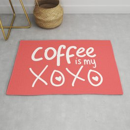 Coffee Is My XOXO (Coral) Rug