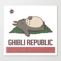 ghibli Canvas Prints featuring Ghibli Republic by Li.Ro.Vi