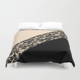 Elegant Peach Ivory Black Floral Lace Color Block Duvet Cover