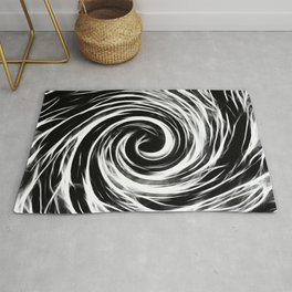 Future Abstract Spiral -Black and White- Rug