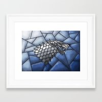 house stark Framed Art Prints featuring House Stark Stained Glass by itsamoose