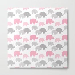 Pink Elephant Silhouette Baby Girl Metal Print