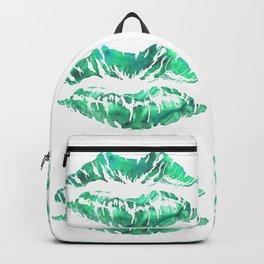 Green Lipstick Print Backpack