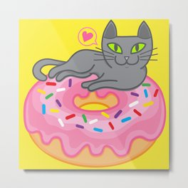 My cat loves donuts. Meow!!! Metal Print