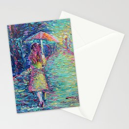 Girl with Pink Umbrella - figurative palette knife city landscape Valentines Day by Adriana Dziuba Stationery Cards
