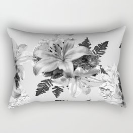 LILY SILVER GRAY WITH HYDRANGEAS AND FERNS Rectangular Pillow