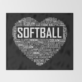 Softball Heart Love Throw Blanket
