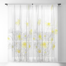 white daisy and yellow daffodils ink and watercolor Sheer Curtain